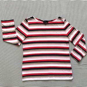 J. Crew Striped 3/4 Sleeve T-shirt Top Boat Neck